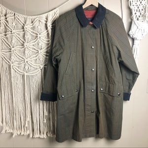 Vintage plaid corduroy zip/button trench coat 6